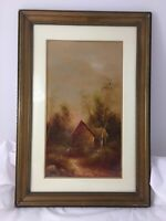 Original Antique Oil Painting on Board Framed Glass Golden Landscape Cottage