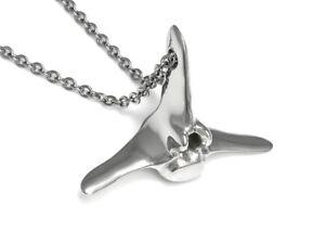 Blue Whale Vertebra Necklace, Handmade Metal Pendant Animal Jewelry Pewter Charm