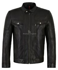 Hombre Cuero Real Chaqueta Negro 100% Piel De Cordero Motociclista de Estilo Casual en 1804