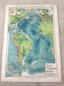 Vintage Map The Atlantic Ocean Maritime Cables Wireless Stations Original 1920s