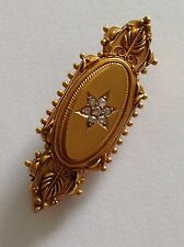Finest Quality Antique Victorian 15ct Gold Etruscan Diamond Cluster Brooch