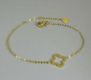 Filigranes Armband Kleeblatt vergoldet 14k Glücksbringer