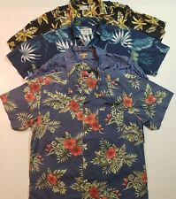 Lot of 4 Tropical Button Down Shirts Button Front Short Sleeve Mens Size Large