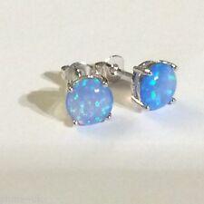 Classic round blue 8mm opal silver (18k white gold gf) stud earrings PlumUK BOXD