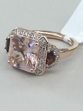 14kt Rose Gold Radiant Cut Morganite & Halo Diamond W/ Garnet Ladies Ring