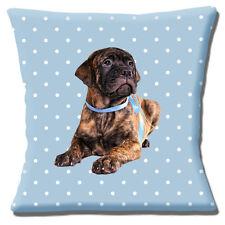 Bullmastiff Puppy Cushion Cover 16x16 inch 40cm Brindle Dog Blue White Polka Dot