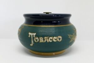 Antique Tobacco Jar Humidor marked England with 4 Triangle Logo