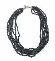 Tiffany & Co. Multi-Strand Onyx Sterling Silver Toggle Clasp Bead Necklace