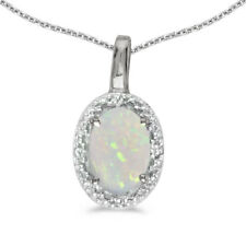 """14k White Gold Oval Opal And Diamond Pendant with 18"""" Chain"""