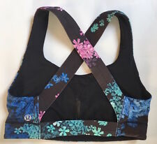 LULULEMON ALL SPORT BRA size 4 Black Pedal Pop Multi Medium Support EUC Run Gym