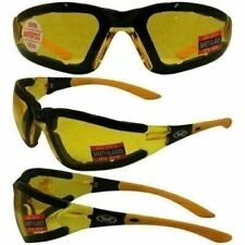 ANTI FOG Padded Motorcycle Riding Glasses Sunglasses-Yellow Night Driving Lens