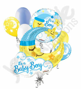 7 pc Baby Boy Jumbo Sleeping Moon Balloon Bouquet Party Decoration Welcome Home