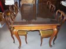 Tavolo in legno da pranzo con 6 sedie in stile 180x100 h 80 con vetro su piano