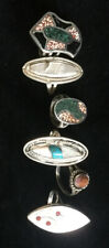Vintage Sterling Silver Turquoise MOP Stone Inlay American Indian Rings Lot Of 6