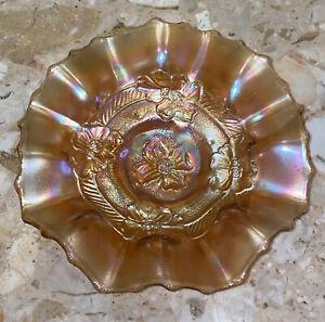 "Antique 1920s Dugan Apple Blossom Orange Marigold Carnival Glass Bowl  7.5"""