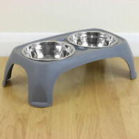 Medium Grey Raised Twin Dog/Puppy/Cat Wet & Dry Feeding Bowl Stand Food/Water
