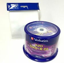 Verbatim 97000 DVD+R DL 8.5GB 8X Logo 50pk ID-MKM003 Xbox 360  + 50 CPP Sleeves