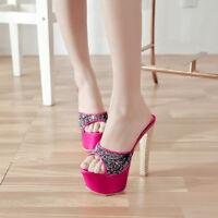 Women Summer Bling High Heel Stilettos Slides Open Toe Slippers Platform Sandals