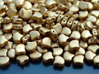 10g Czech Ginko Duo Twin Hole Beads 7.5x7.5mm Bronze Pale Gold