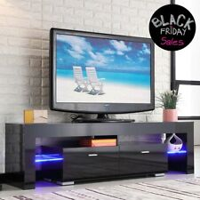 High Gloss Black TV Stand Unit Cabinet Console Furniture w/LED Shelves 2 Drawers