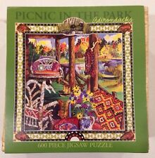 NEW Picnic in the Park (Adirondacks). 600pc Ceaco Jigsaw Puzzle in Basket.