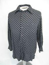 Artioli Size M Men's Long Sleeve Button Down Shirt black gray checked Italy