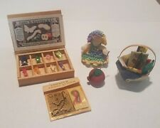 5 Dollhouse Miniatures-Sewing Basket, Pin Cushion, Pattern, Embroidery, & Doll.