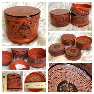 "4x3"" Asian Antique Burmese betel nut box, Kun it, Burma lacquerware"