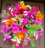 "Handmade XL Summer Spring Door Wreath 30"" Hot Pink Green Floral Deco Mesh Decor"