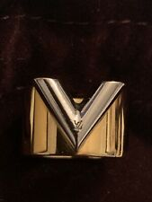 Guaranteed Authentic LOUIS VUITTON Gold-Plated Essential V Ring M61085 Size M