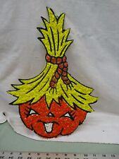 Vintage Melted Popcorn Plastic Decor Halloween Pumpkin Jack o lantern Hay Hair