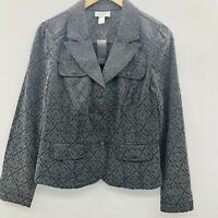 Ann Taylor LOFT Womens Size 8 Long Sleeve Floral Printed Blazer Jacket Gray $59
