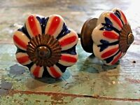Set of 2  Union Jack Vintage Style Ceramic Cupboard Door Knobs in Antique Brass