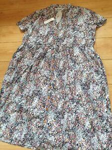 Blue Floral Button Down Summer Dress Pockets Cotton Plus Size 26 Penny Plain NEW