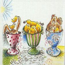 4 tableau unique fête serviettes en papier pour découpage decopatch craft pâques eggcups