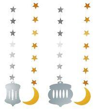 Ramadan Eid Crescent Moon and Lantern Hanging Decorations (4 pack)