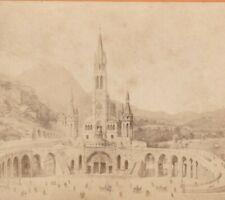 PHOTO ALBUMINÉE 1870 BASILIQUE DU ROSAIRE LOURDES CABINET par VIRON 16 X 10 cm