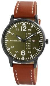 Herren Uhr Braun Klassisch Armbanduhr Dunkel Grün Große Zahlen Armband Breit