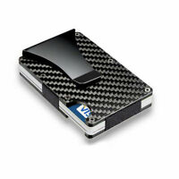 Men Slim Carbon Fiber Credit Card Holder RFID Blocking Metal Money Clip Wallet