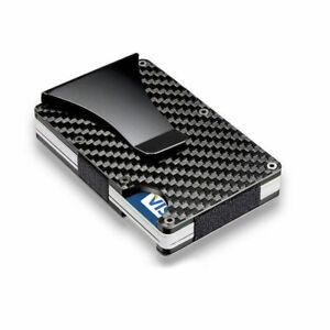 Men Slim Carbon Fiber Credit Card Holder RFID Blocking Metal Money Clip Wallet