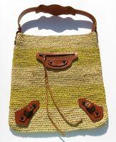 BALENCIAGA Natural Beige Yellow Woven Raffia Striped Tan Panier Leather Hobo Bag