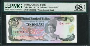 Belize 1987, 10 Dollars, P48a, PMG 68 EPQ Superb GEM UNC Top grade