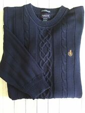 Men's Gant Hand Framed Sweater Navy Cotton With Cable Detail Large