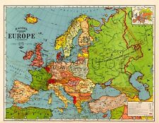 Bacon's Standard Wall MAP of EUROPE circa 1921 24