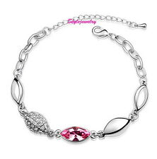 Silver Rhodium Plated Pink Crystal Bracelet Made With Swarovski Crystal T55