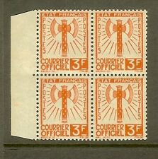 "FRANCE STAMP TIMBRE DE SERVICE N°10 ""FRANCISQUE 3F ORANGE BLOC DE 4"" NEUF xx TTB"