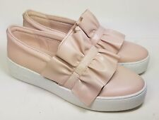 Michael Kors Bella Pink Leather Fashion Ruffled Slip-On Sneakers Size 9.5M