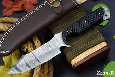 Custom Damascus Steel Hunting Knife Handmade With G-10 Micarta Handle (Z419-B)