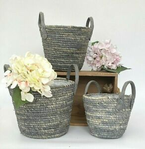 Woven Plant Basket Lined Planter Flower Pot Holder Scandi Style Natural & Grey