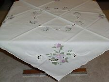 "White/Purple Embroidered Overlay Tablecloth 32"" Square--German--Table Runner"